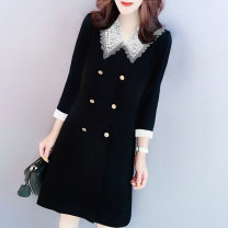 Dress Autumn 2020 black S M L XL Middle-skirt singleton  Nine point sleeve street Doll Collar High waist Solid color routine Others 30-34 years old Miheng BB202v12127p0130 More than 95% other Other 100% Pure e-commerce (online only) Europe and America