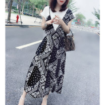Dress Spring 2021 S M L XL longuette Fake two pieces Short sleeve street Crew neck High waist Decor routine Others 30-34 years old Miheng More than 95% other Other 100% Pure e-commerce (online only) Europe and America