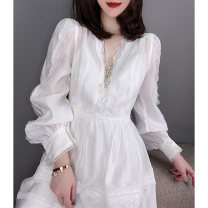 Dress Spring 2021 white S M L XL Middle-skirt singleton  Long sleeves street V-neck High waist Solid color other routine Others 30-34 years old Miheng BB201v10564p0110 81% (inclusive) - 90% (inclusive) polyester fiber Polyester 85% polyamide 15% Pure e-commerce (online only) Europe and America