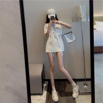Dress Summer 2021 white S M L XL Short skirt Short sleeve commute 18-24 years old Yziyni / izzini Korean version More than 95% other Other 100% Same model in shopping mall (sold online and offline)