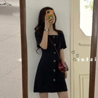 Women's large Summer 2021 black L XL S M commute Short sleeve Retro square neck other other Yziyni / izzini 18-24 years old 96% and above Short skirt Other 100% Same model in shopping mall (sold online and offline)