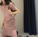 Women's large Summer 2021 Picture color L XL S M commute Short sleeve Korean version Polo collar other other Yziyni / izzini 18-24 years old 96% and above Middle-skirt Other 100% Same model in shopping mall (sold online and offline)