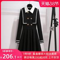 Dress Winter 2020 Black dress, white dress S,M,L,XL Mid length dress singleton  Long sleeves commute stand collar High waist Solid color zipper Big swing routine Others 18-24 years old Type A Other literature Button, zipper 810785A More than 95% polyester fiber