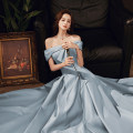Dress / evening wear The company's annual convention performs daily appointments S ml XL 2XL customized contact customer service (no return) Light blue light blue + Chest Patch fashion longuette middle-waisted Winter 2020 A-line skirt One shoulder Bandage 18-25 years old MJ20029 Sleeveless Mujing