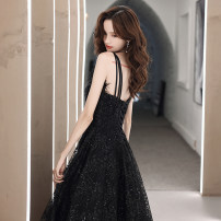 Dress / evening wear The company's annual convention performs daily appointments S ml XL 2XL customized contact customer service (no return) black fashion longuette middle-waisted Winter 2020 Fall to the ground Sling type Bandage 18-25 years old MJ20047 Sleeveless Nail bead Solid color Mujing other