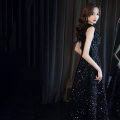 Dress / evening wear The company's annual convention performs daily appointments S ml XL 2XL customized contact customer service (no return) black fashion longuette middle-waisted Winter 2020 A-line skirt Deep collar V Bandage 18-25 years old MJ20065 Sleeveless Nail bead Solid color Mujing other