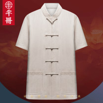 shirt Fashion City Half volume M L XL 2XL 3XL 2816 white top 2816 Navy top 2816 red top 2816 Beige top Thin money stand collar Short sleeve easy Other leisure summer Z2062-1 middle age Cotton 72% flax 28% Chinese style 2020 Solid color Linen Summer 2020 No iron treatment Embroidery