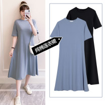 Dress You Qing Haze blue black M L XL XXL leisure time Short sleeve have more cash than can be accounted for summer Crew neck Solid color Pure cotton (95% and above)