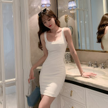 Dress Summer 2021 white S M L Short skirt singleton  Sleeveless commute square neck High waist Solid color Socket Pencil skirt other straps 25-29 years old Type H Elori Ol style backless H4108 31% (inclusive) - 50% (inclusive) nylon Pure e-commerce (online only)