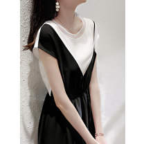 Dress Spring 2021 black S M L XL Mid length dress Fake two pieces Short sleeve commute Crew neck High waist Solid color Socket A-line skirt routine camisole 25-29 years old Type A Jane Bailey Korean version Three dimensional decoration with pleated stitching W26Q22258 Chiffon Cellulose acetate