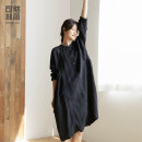 Dress Spring 2021 Dark black S M L longuette singleton  Nine point sleeve commute Crew neck Loose waist Solid color Socket A-line skirt routine 30-34 years old Type A Simple and simple literature Pleated button Q201164 More than 95% hemp Flax 100% Pure e-commerce (online only)