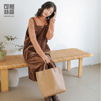 Dress Winter of 2019 Dark green chestnut S M L longuette singleton  Sleeveless commute square neck Loose waist Solid color Socket A-line skirt other straps 30-34 years old Simple and simple literature Q91043 More than 95% cotton Cotton 97% polyurethane elastic fiber (spandex) 3%