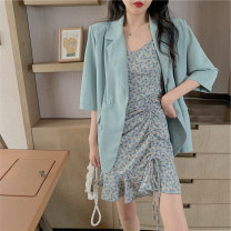 Lace / Chiffon Summer 2021 Suit coat floral suspender skirt Average size S M elbow sleeve commute Socket Two piece set Self cultivation Medium length V-neck Decor routine 18-24 years old Huisu 1397# Ruffle Korean version Other 100% Pure e-commerce (online only)
