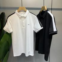 Polo shirt GQO Fashion City routine White black 4XL M L XL 2XL 3XL standard motion summer Short sleeve G2154 Business Casual routine youth Cotton 69 . eight %  Polyester 27 . three %  Polyurethane elastic fiber ( spandex ) two . nine % other cotton No iron treatment Splicing Spring 2021