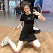 Dress Summer 2020 Pink Black Green S M L XL Short skirt singleton  Short sleeve commute Crew neck High waist other Socket A-line skirt routine Others 18-24 years old Type A Korean version More than 95% other Other 100% Pure e-commerce (online only)