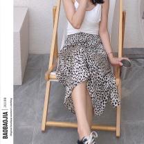 skirt Summer 2021 S,M,L Leopard Print longuette commute High waist A-line skirt Leopard Print Type A 18-24 years old QZ2101 81% (inclusive) - 90% (inclusive) Chiffon Cellulose acetate zipper Retro
