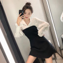 Dress Spring 2021 S M L XL Mid length dress Fake two pieces Long sleeves commute Polo collar High waist A-line skirt routine 18-24 years old Type A Fuyi Korean version More than 95% other Other 100% Pure e-commerce (online only)
