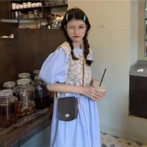 Square Dance Dress S,M,L,XL,2XL Blue dress, floral smock Short sleeve Broken flowers puff sleeve female