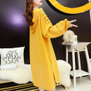 Women's large Spring 2021 Black purple yellow Dress singleton  commute easy thin Socket Long sleeves letter Korean version Hood Medium length fold routine Mengweinuo 18-24 years old Lace stitching longuette Polyester 65% Cotton 30% polyurethane elastic fiber (spandex) 5% Pure e-commerce (online only)