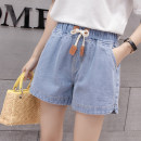 Jeans Summer of 2019 shorts High waist Wide legged trousers routine 18-24 years old Cotton denim light colour Xiangxiufang 31% (inclusive) - 50% (inclusive) Pure e-commerce (online only)