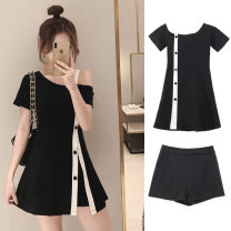 Women's large Summer 2020 One piece dress + shorts M [90-100kg] large l100-110kg large xl115-125kg large 2XL (125-140kg) large 3XL (140-155kg) large 4XL (155-170kg) Dress Two piece set commute easy thin Socket Short sleeve Solid color Korean version other Medium length Three dimensional cutting
