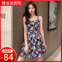 Dress Summer 2020 Blue chrysanthemum (picture color) XS S M L XL 2XL 3XL Short skirt singleton  Sleeveless commute V-neck High waist Broken flowers zipper A-line skirt camisole 18-24 years old Type A Small room Korean version 15187W More than 95% polyester fiber Polyester 100%