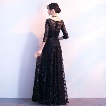 Dress / evening wear daily S,M,L,XL,XXL,XXXL Black Medium Long style, black long style fashion longuette Fall to the ground Tussah silk three quarter sleeve Other / other