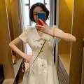 Dress Summer 2021 white S M L XL Mid length dress singleton  Short sleeve commute Doll Collar Solid color Socket A-line skirt routine Others 18-24 years old Qintian Korean version hhh1144 More than 95% other Other 100% Pure e-commerce (online only)