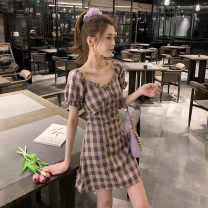 Dress Summer 2021 Light blue purple S M L XL Short skirt singleton  Short sleeve commute square neck lattice Socket A-line skirt routine Others 18-24 years old Qintian Korean version hhh1071 More than 95% other Other 100% Pure e-commerce (online only)