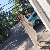 Dress Summer of 2019 White Jumpsuit S M L longuette singleton  Sleeveless commute One word collar High waist Solid color other camisole 18-24 years old Hangsang Korean version Open back bandage W3EBnG More than 95% other Triacetate fiber (triacetate fiber) 100% Pure e-commerce (online only)