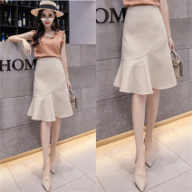 skirt Summer 2021 S,M,L,XL,2XL Apricot, black, sling Mid length dress commute High waist Ruffle Skirt Solid color Type A 71% (inclusive) - 80% (inclusive) other Ruffle, asymmetry, wave, 3D Korean version