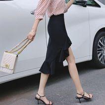 skirt Summer of 2019 XS,S,M,L,XL,2XL black Mid length dress commute High waist Ruffle Skirt Solid color Type X 25-29 years old brocade polyester fiber Ruffles, zippers Ol style
