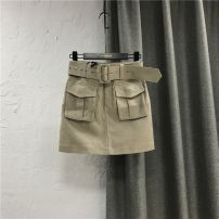 skirt Summer 2020 S,M,L Card color / belt Short skirt commute Natural waist Denim skirt Solid color Type A 25-29 years old More than 95% Denim cotton Korean version
