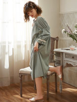 Nightdress Other / other Sl3803 mint green, sl3802 apricot M,L,XL,XXL Sweet three quarter sleeve pajamas Middle-skirt spring Solid color youth Crew neck cotton lace More than 95% pure cotton 260g