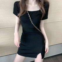 Women's large Summer 2021 black S M Dress Self cultivation Socket Short sleeve square neck have cash less than that is registered in the accounts routine Ouyidi Short skirt Other 100%