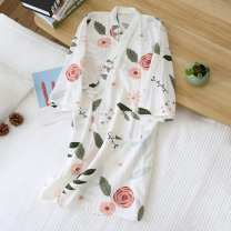 Nightdress Other / other 160(M),165(L) Simplicity Nine point sleeve Leisure home Middle-skirt spring Plants and flowers V-neck cotton More than 95% pure cotton