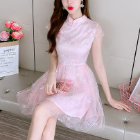 Dress Summer 2021 White pink light grey S M L XL Middle-skirt singleton  Short sleeve stand collar Solid color zipper Flying sleeve Others 18-24 years old Xin Weili XWL8699#-4 71% (inclusive) - 80% (inclusive) polyester fiber Polyester 80% other 20% Pure e-commerce (online only)