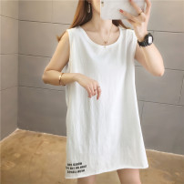 Vest sling Summer 2021 White # 9348 gray # 9348 white # 9349 white # 9350 white # 9351 white # 9352 white # 8315 white # 8347 white # 8501 white # 8502 white # 8503 M L XL XXL singleton  Medium length easy commute I-shaped Solid color 18-24 years old 96% and above cotton B9348 printing Cotton 100%