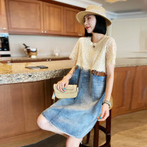 Dress Spring 2021 Color matching S M L Mid length dress Fake two pieces Short sleeve commute Crew neck Loose waist Socket other routine Others 30-34 years old Type H Autumn inch Korean version Cut and sew lace SH202f80077p0101 More than 95% other Other 100%