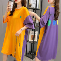 Women's large Summer 2021 M L XL XXL Dress singleton  Sweet easy moderate Socket Short sleeve Crew neck Medium length Polyester polyester cotton printing and dyeing Bat sleeve Sorrow and pity 25-29 years old Asymmetry longuette Polyester 65% Cotton 30% polyurethane elastic fiber (spandex) 5% other