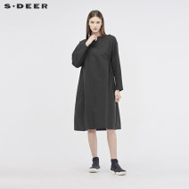 Dress Spring of 2019 Black / 91 S/160 M/165 L/170 XL/175 Mid length dress singleton  Long sleeves One word collar middle-waisted other A-line skirt routine 25-29 years old Type A s.deer More than 95% other cotton Cotton 100% Same model in shopping mall (sold online and offline)