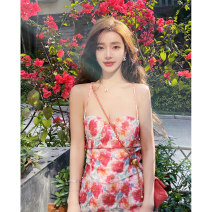 Dress Spring 2021 Main graph color S M L Mid length dress singleton  Sleeveless commute other camisole 25-29 years old Rice character printing F7614 More than 95% other Other 100% Pure e-commerce (online only)