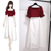 skirt Summer 2021 S M L Red top + white skirt [single piece] red top [single piece] white skirt longuette commute Natural waist 2501CH0d3 More than 95% Jingyilian other Korean version Other 100% Pure e-commerce (online only)
