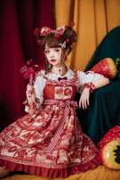 Dress Autumn of 2019 Tomato red, grey blue, grey green S,L Middle-skirt singleton  Sleeveless Sweet One word collar High waist Socket Princess Dress Flying sleeve camisole Type A Lolita