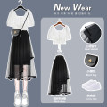 Dress Summer 2021 Black irregular net skirt [single piece] 826 white rope shirt [single piece] black irregular net skirt + 826 white rope shirt S M L XL Mid length dress Two piece set commute High waist Socket Others 18-24 years old Type A come of age Korean version 0303-X2-757 More than 95%