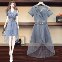 Women's large Summer 2021 6228 two piece set Dress Two piece set commute moderate Socket Short sleeve Solid color Korean version Polo collar Three dimensional cutting routine LJR6228# Beautiful and beautiful Medium length Polyester 80% other 20% Pure e-commerce (online only)