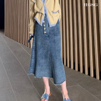 skirt Spring 2021 XS S M L Light blue white Mid length dress commute High waist Irregular Solid color 25-29 years old Hgsg8178 denim skirt More than 95% HGSG other Pocket button Korean version Other 100% Pure e-commerce (online only)