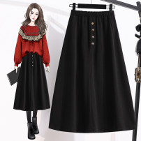 skirt Autumn 2020 M L XL 2XL 3XL 4XL black longuette commute High waist A-line skirt Solid color Type A 25-29 years old More than 95% Qiu Yifan other Button Korean version Other 100% Pure e-commerce (online only)