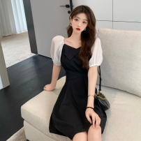 Dress Summer 2021 Black yellow S M L XL Short skirt singleton  Short sleeve commute square neck High waist Socket A-line skirt routine 18-24 years old Manyi Butterfly Korean version Splicing MYD-2104A More than 95% other Other 100%