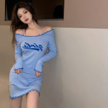 Dress Summer 2021 blue S M L XL Short skirt singleton  Long sleeves commute One word collar High waist letter Socket One pace skirt routine camisole 18-24 years old Manyi Butterfly Splicing MYD-7375A More than 95% other Other 100% Pure e-commerce (online only)